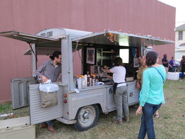 The Brigade coffee truck sets up at a festival.