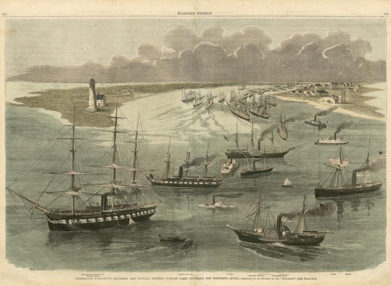 Commodore Farragut's Squadron and Captain Porter's Mortar Fleet Entering the Mississippi from Harper's Weekly; May 17, 1862; print; The Historic New Orleans Collection, 1978.205