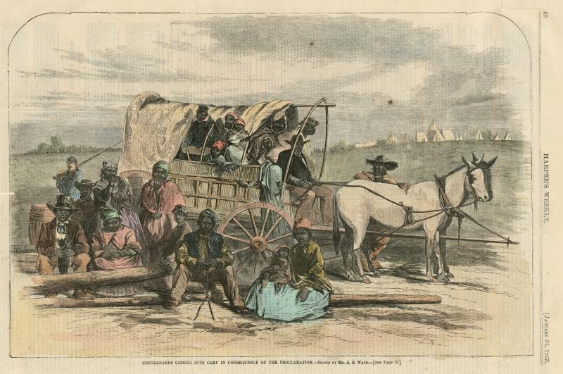 Contrabands Coming into Camp in Consequence of the Proclamation from Harper's Weekly; January 31, 1863; print [reproduction]; by Alfred Rudolph Waud, illustrator; The Historic New Orleans Collection, 1979.133