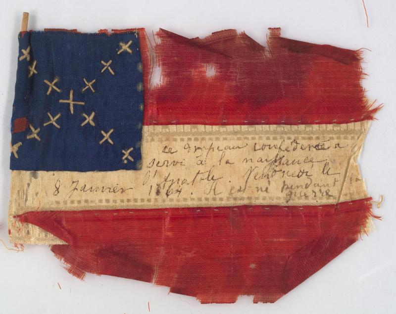 Confederate flag; 1864; silk, cotton, wood, ink; The Historic New Orleans Collection, gift of Clyde Cucullu, 1989.119.2