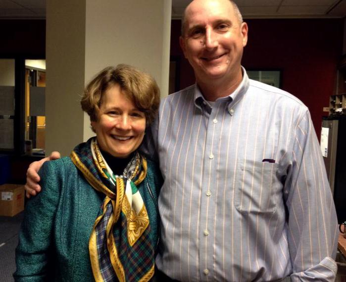 WWNO Board Chair Susan Talley with General Manager Paul Maassen.