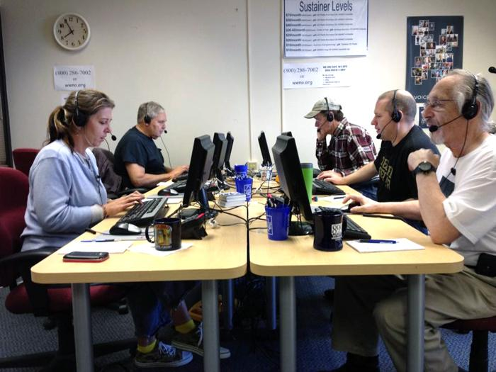 We love it when the phone lines are all active! Thanks to our volunteers, who love coffee and when you call.