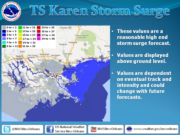 The projected storm surge impact of Tropical Storm Karen on the New Orleans metro region. Last updated Fri., Oct. 4 at 8:45 a.m.