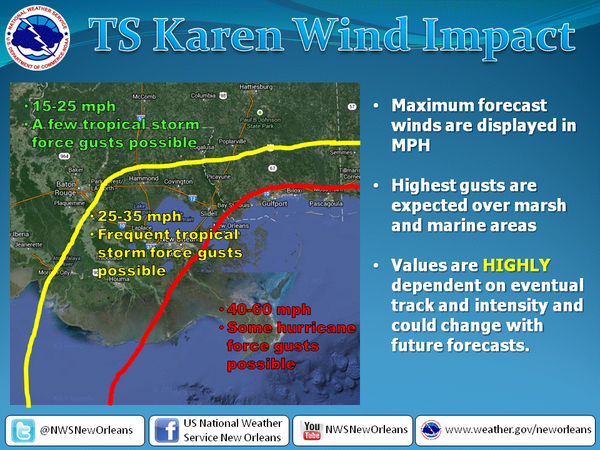 The projected wind impact of Tropical Storm Karen on the New Orleans metro region. Last updated Fri., Oct. 4 at 8:45 a.m.