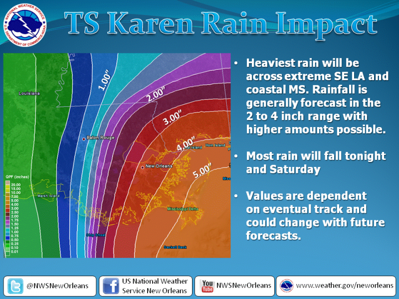 The projected rainfall impact of Tropical Storm Karen on the New Orleans metro region. Last updated Fri., Oct. 4 at 8:45 a.m.