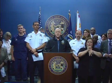 A screenshot of Mayor Mitch Landrieu's Tropical Storm Karen press conference.