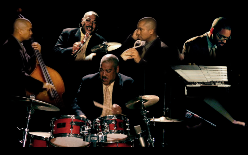 Shannon Powell, Jason Marsalis and Roland Guerin performing 'Powell's Place'.