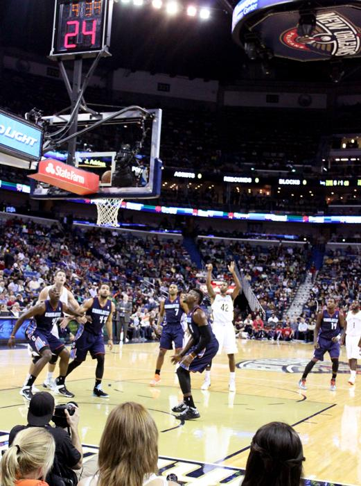 Lance Thomas shoots a free throw attempt in New Orleans' 105-84 victory over the visiting Charlotte Bobcats.