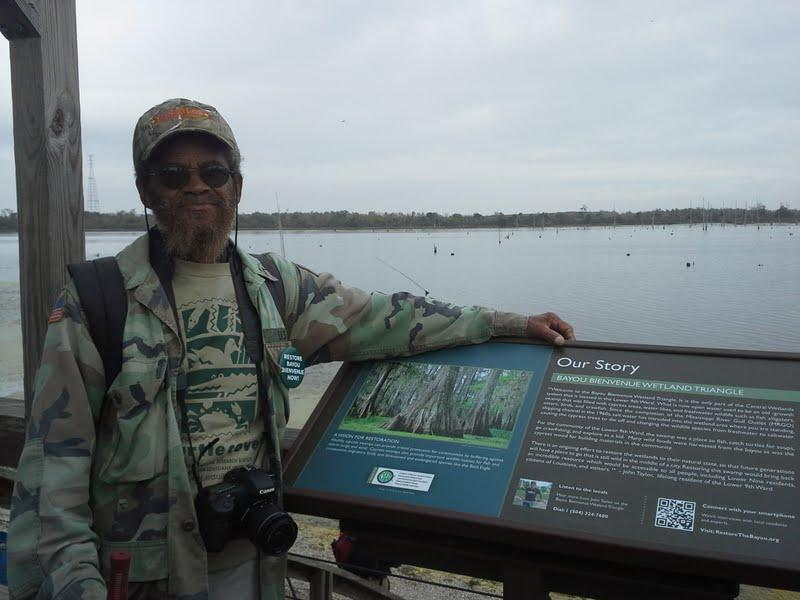 John Taylor is caretaker of the Bayou Bienvenue viewing platform, which offers a vantage point to see projects designed to restore wetlands that once filled the area, but that are now open water.