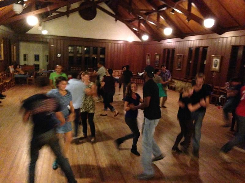 Square dancing in the Fellowship Hall at First Presbyterian Church on Claiborne Ave.