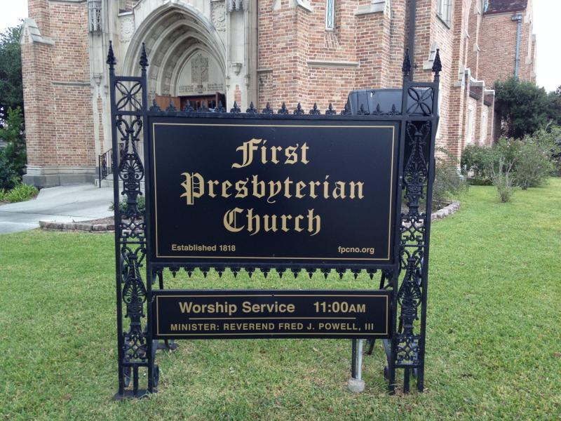 First Presbyterian Church's sign.