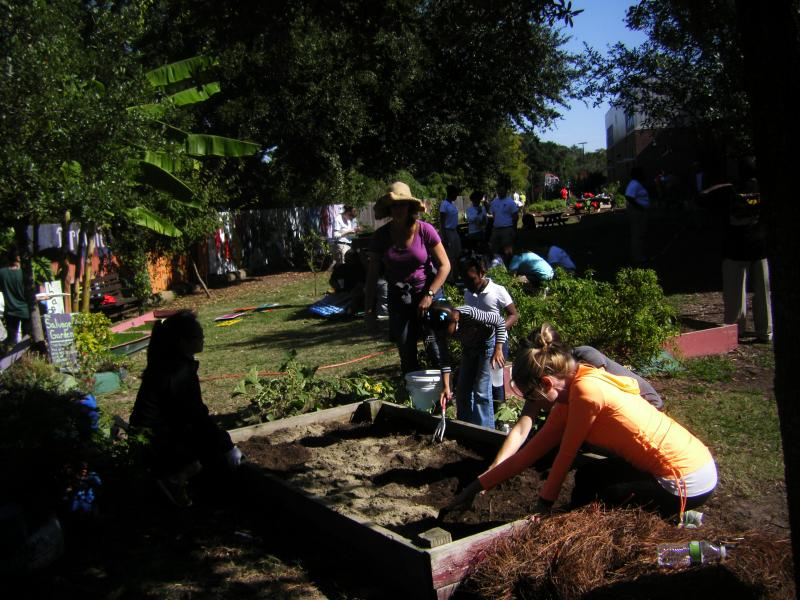 Volunteers work on the Langston Hughes Community Garden.