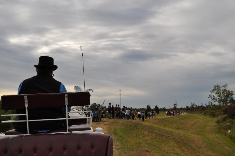 A scene from the levee on the set of Cry You One