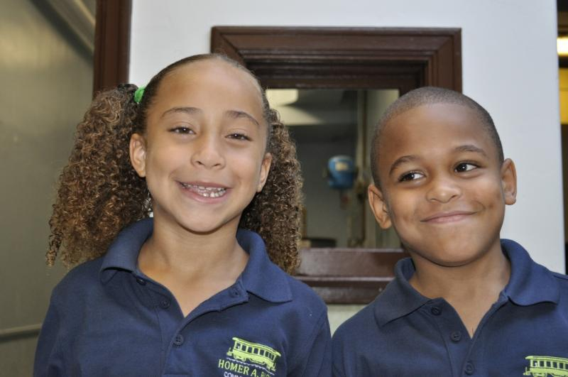 Sophia and Jonathan insdie their new school