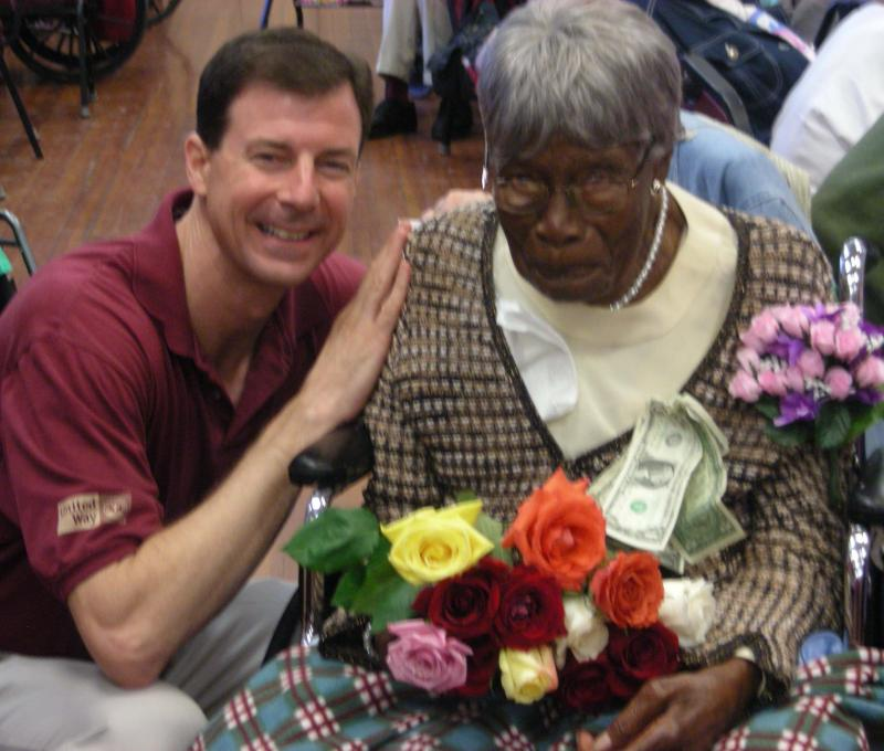 Mother (Maggie Simmons) and Keith Liederman on Mother's 106th birthday.
