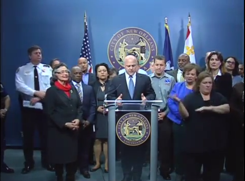 A screen capture showing Mayor Landrieu and other city officials brief the press and public before the winter storm expected to wreak havoc throughout the region over the next few days.