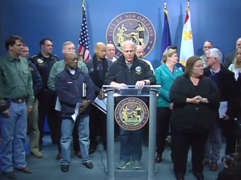 Mayor Landrieu and city officials update the public on the progress of the winter storm and the public response effort on Tuesday.