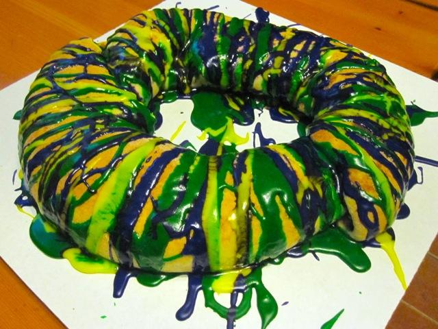 Goat cheese and apples fill this king cake from Cake Café & Bakery.