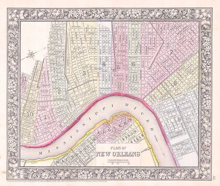 MItchell 1864 Map of New Orleans