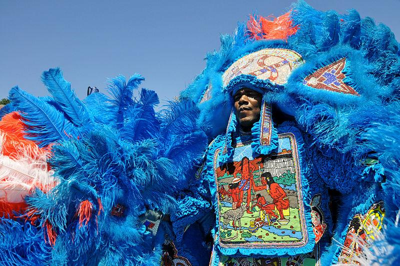 New Orleans Mardi Gras Indians parade on Super Sunday.