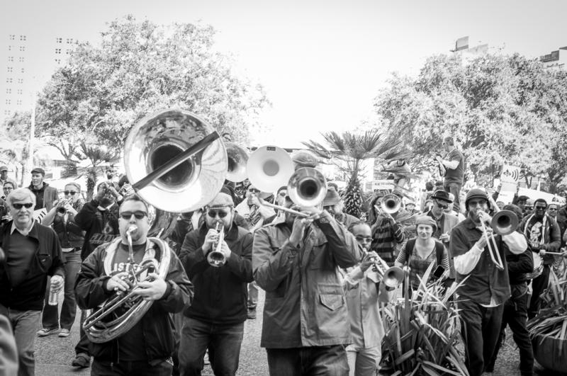 Musicians protested changes to a noise ordiance in front of City Hall.
