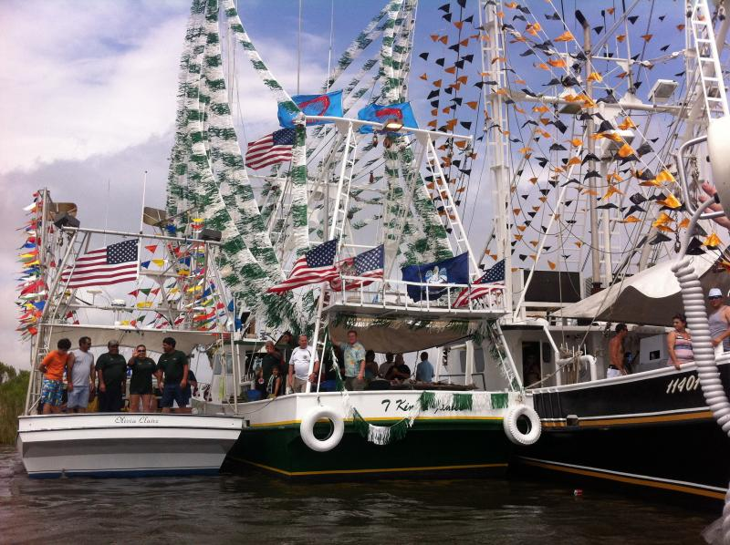 """At the Chauvin, Louisiana """"Blessing of the Fleet"""" in April, the T-Kim & James led the procession."""