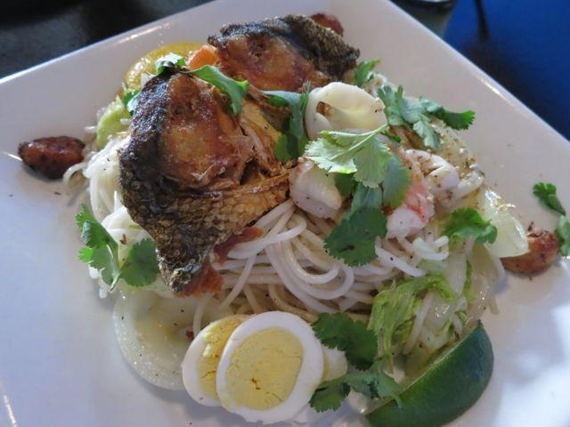 A Filipino dish of smoked fish, egg and noodles at the new Milkfish in Mid-City.