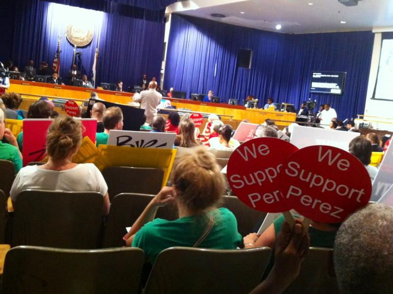 Supporters and opponents of the Holy Cross development packed City Hall chambers on Thursday. The council voted to approve the zoning changes that will allow the development to proceed.