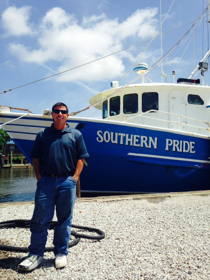 David Chauvin is ready for an influx of brown shrimp at his dock in Dulac, Louisiana. Inshore waters opened to shrimping this week, a late start to the season.