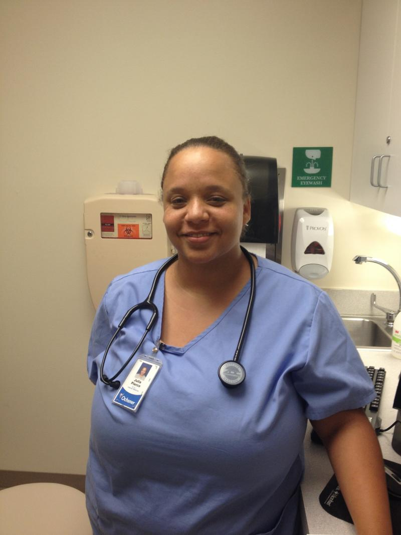 Julia Pierce is a medical assistant at Oschner Baptist Medical Center.