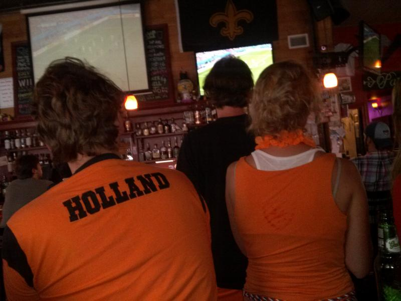 Dutch fans celebrate a World Cup victory at the Rusty Nail.