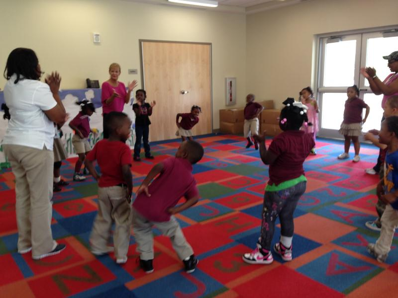 Students at Educare learn math through dance steps.
