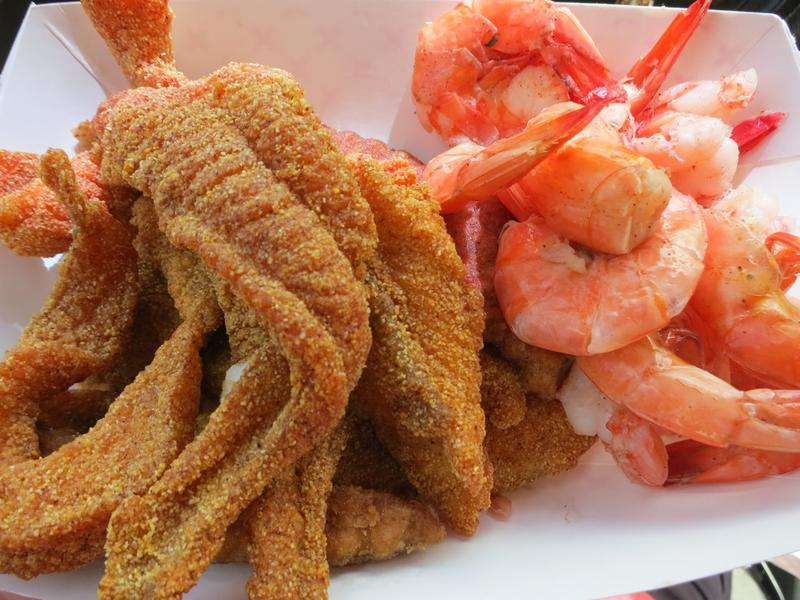 Fried catfish and boiled shrimp, found in a kitchen under an Exxon sign on the Louisiana highway.