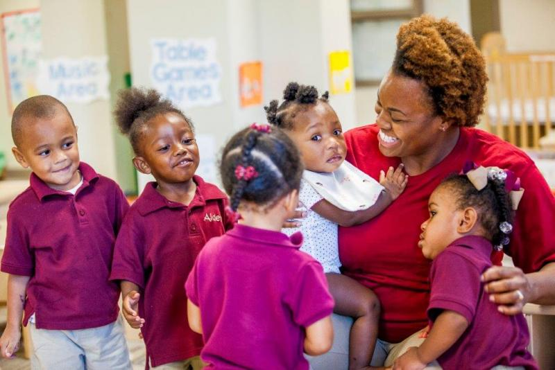 Educare's Infant-Toddler Classrooms have three teachers for every eight children.