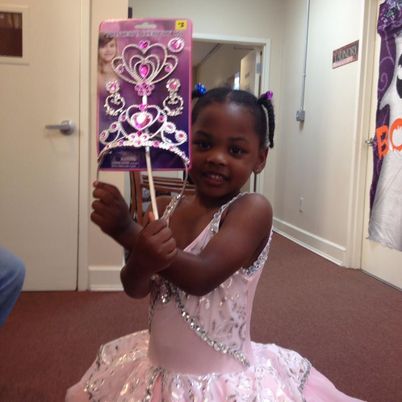 Ciara models her princess dress and her new tiara.