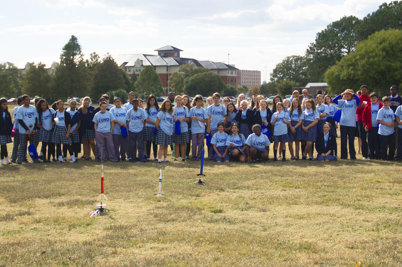Approximately 150 middle school students from five area schools participated in UNO Space Day 2014, which culminated Thursday afternoon with a model rocket launch.