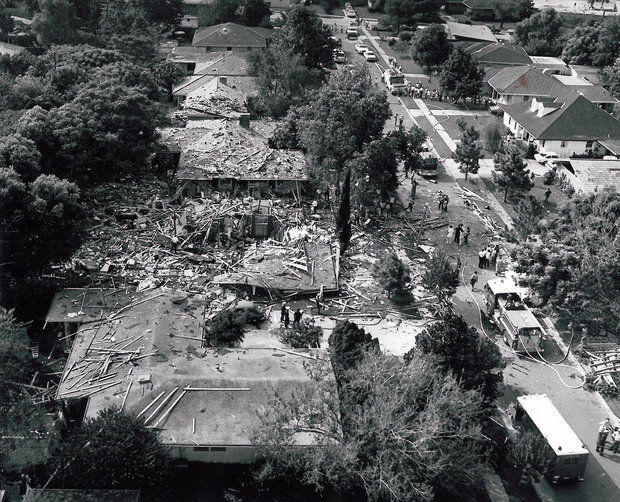 A 1975 explosion in Metairie, caused by broken gas lines due to soil subsidence.