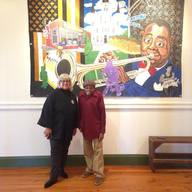 "Jeanne Nathan of CANO and Keith Duncan in front of one of Duncan's works, ""Times-Picayune,"" on display at the Myrtle Banks building, 1307 Oretha Castle Haley Blvd., through Feb. 28"