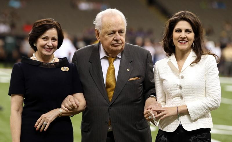 Tom Benson, pictured with wife Gayle and granddaughter Rita Benson LeBlanc, grew up in the St. Roch neighborhood and graduated from Brother Martin High School and Loyola University.
