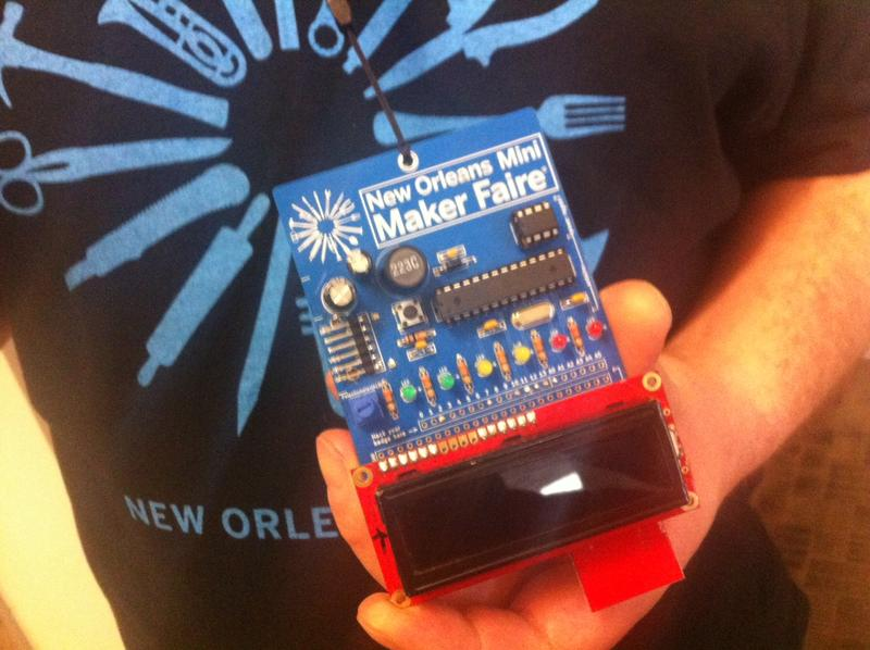 VIP badges at the Maker Faire contained a full Arduino, essentially making it a tiny programmable computer.