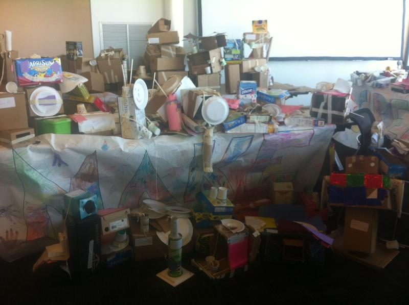 Creations of kindergarten and first grade students from Bricolage Academy's Innovation Room.