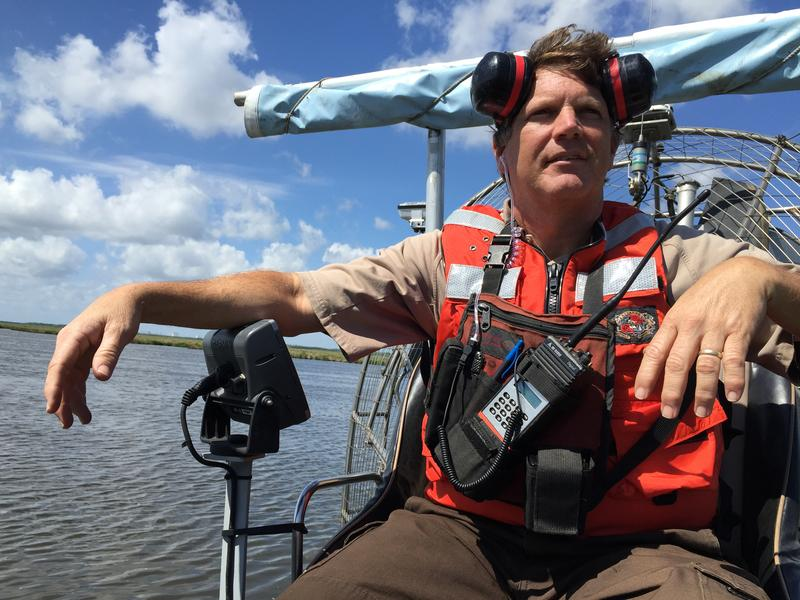 'Captain Danny' lets loose on an airboat in the middle of the marsh.