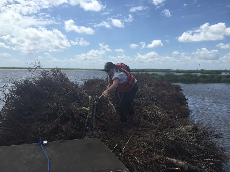 The Wildlife and Fisheries team retrieves the harness to bring back to land for the National Guard to reuse in this operation.