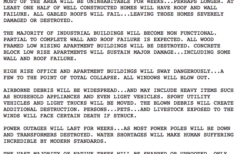 Detail of the National Weather Service Katrina Bulletin.