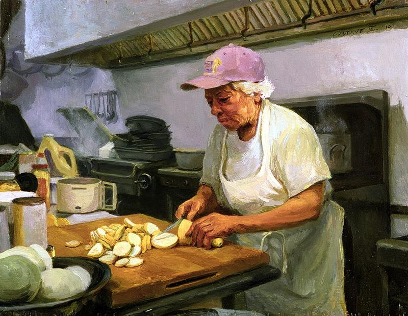 """""""Cutting Squash"""" from the Leah Chase series by Gustave Blache III. Oil on wood, 2010."""