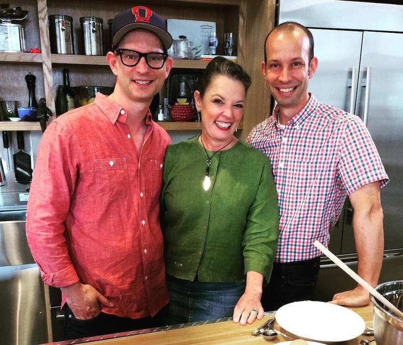 The Lee Brothers with Poppy Tooker at the Louisiana Eats! studios  in the Southern Food & Beverage Museum.