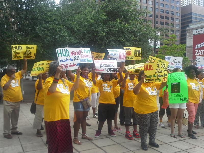 Housing advocates rally outside the federal building in New Orleans.