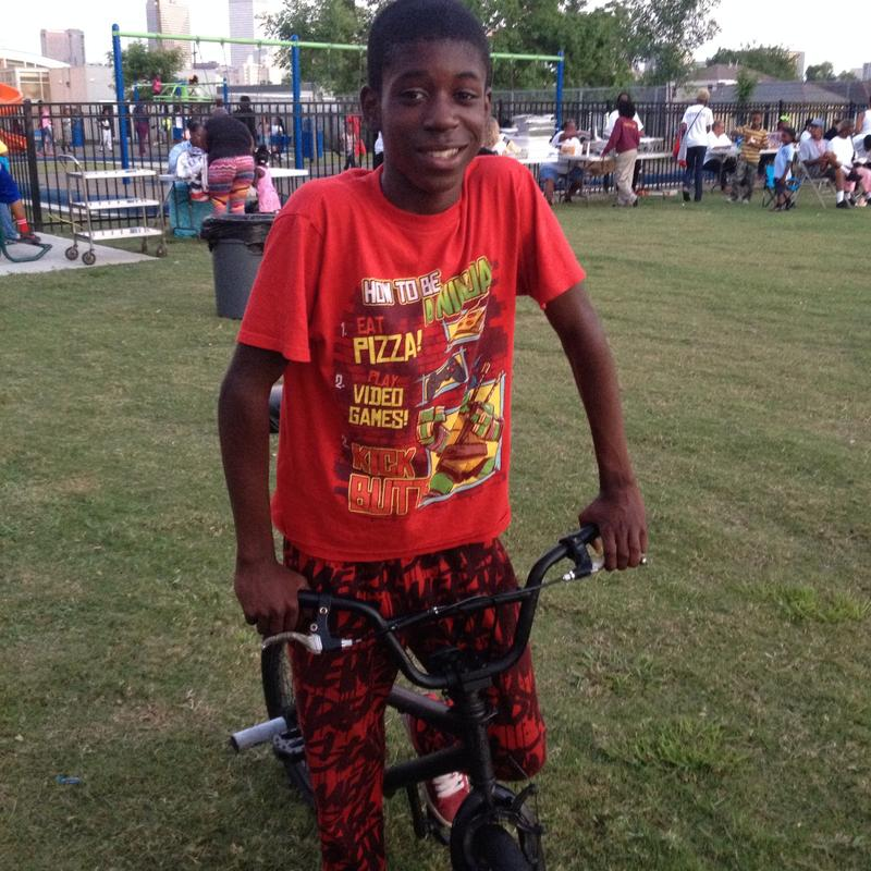 Lance loves riding his bike on the Lafitte Greenway.