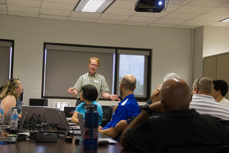 lden Richard teaches cybersecurity to a group of educators from around the U.S.