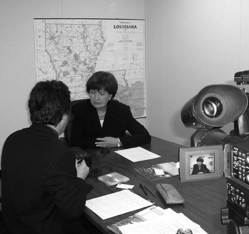 Former governor Kathleen Blanco is interviewed by historian Mark Cave.